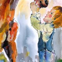 """Trust is Earned  Two Youngsters WC Painting"" by Ginette Callaway"