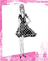Illustration...Fashion Girl in Hot Pink 1