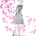 """Illustration...Fashion Girl in Hot Pink 2"" by chowarddesigns"
