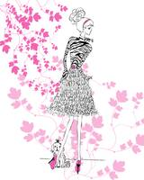 Illustration...Fashion Girl in Hot Pink 2