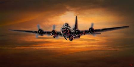 B17 Battle Scarred but Heading Home