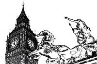 Big Ben and Boudica Charcoal effect Image