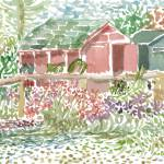 """Red House with Garden"" by KayArtiste"