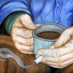 """""""Cup of Coffee and a Cigarette"""" by EquineArtTreasures"""