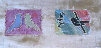 Birds on gold background