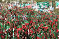 Supporters of PTI at a rally in Karachi, Pakistan