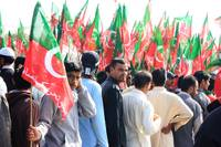PTI Supporter outside Rally in Karachi, Pakistan