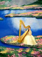 Harpist in Flower Garden Close Up