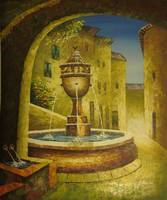[City Fountain] - Oil Painting On Canvas - 0399