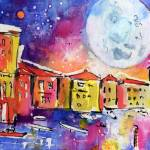 """Large Moon Over Venice  Watercolor Painting"" by GinetteCallaway"
