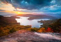 Blue Ridge Mountains Sunset - Jocassee Gold