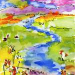 """A New Brook Watercolor and Ink"" by GinetteCallaway"