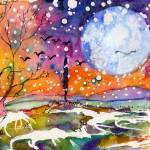 """Winter Moon Landscape Watercolor by Ginette"" by GinetteCallaway"