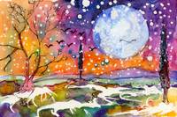 Winter Moon Landscape Watercolor by Ginette
