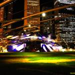 """Jay Pritzker Pavilion Purple-White"" by RichardJZentner"