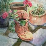 """Flowers In A Work Boot Planter"" by awagner"