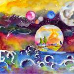 New World Rising Watercolor Painting Ginette