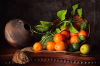 Tangerines into a basket