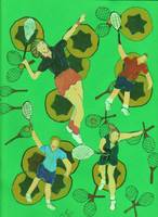 TENNIS PEOPLE ON BALLS AND RACQUETS