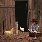 """""""Girl with Chickens"""" by spadecaller"""