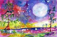 Swamp Lights Okefenokee Magic Watercolor