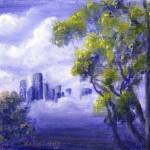 """Distant City in Blue"" by Lenora"