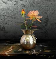 Two Roses in Brass Vase