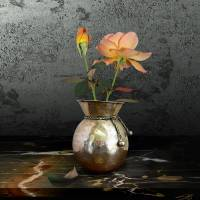 Two Roses in Brass Vase by I.M. Spadecaller