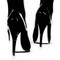A Highly Erotic Drawing of Fashionable High Heels