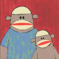 Sock Monkey 220: Father and Son Art Prints & Posters by Brenda Young