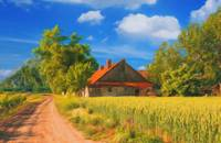 Landscape painting - old farm house in the summer