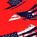 """Dynamic Pop Painting of a waving American Flag"" by studiodestruct"