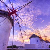 Mykonos Sunset Art Prints & Posters by Mark E Loper