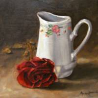 White jug with a rose Art Prints & Posters by Muna Abdurrahman