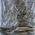 """Black Gold Young Female Ballet Dancer Strong Pose"" by ExclusiveCanvasArt"