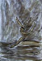 Black Gold Young Female Ballet Dancer Strong Pose