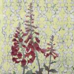 """Foxy Foxglove Batik red yell"" by RePeteyPrints"