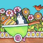 """Wheelbarrow Cat"" by SusanFaye"