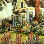 """""Victorian house with flowers"""" by artbyjpennington"