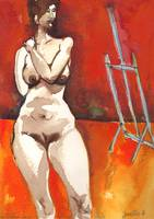 Volouptuous Nude on Red and Orange