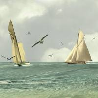 Two Sailboats by I.M. Spadecaller
