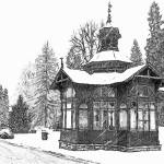 """Karlova Studanka Spa Cabin Sketch"" by WallArtDeco"