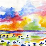 """Blue Lotus Pond Watercolor by Ginette"" by GinetteCallaway"