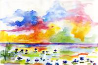 Blue Lotus Pond Watercolor by Ginette