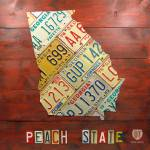"""Georgia Peach State License Plate Map"" by designturnpike"