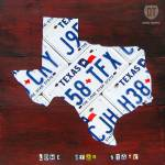 """Texas Lone Star State License Plate Map"" by designturnpike"