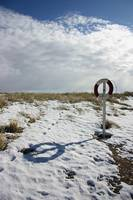 Lifebuoy on a winter beach