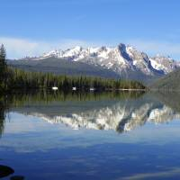 """Sawtooth Mountains - Mirrored By Redfish Lake"" by artsandi"