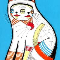 The Cat Print Art Prints & Posters by Keemo Gallery