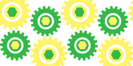 Retro Cogs Yellow & Green